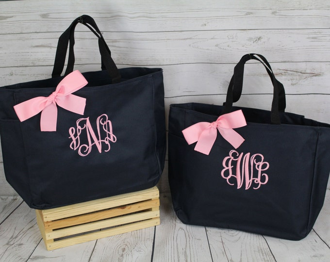 9 Bridesmaid Gift Personalized Tote Bags Monogrammed Tote, Bridesmaids Tote, Personalized Tote, Wedding Totes, Day of Wedding Bag, Wedding