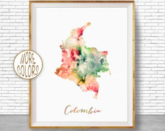 Colombia Map Print Colombia Print Office Art Print Watercolor Map Art Map Artwork Office Decorations Country Map ArtPrintZone