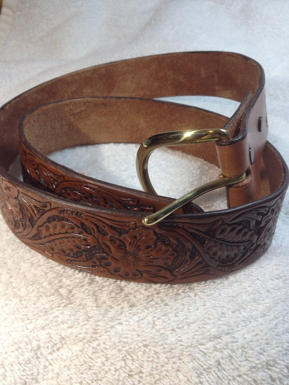 Sheridan style hand carved and tooled western belt