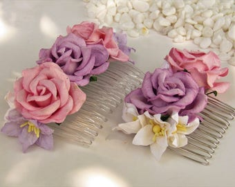 Pink and Lilac Flower Hair Comb - Flower Hair Combs, Wedding Hair Combs, Floral Hair Comb, Flower Girl Hair Combs, Wedding Hair Accessories