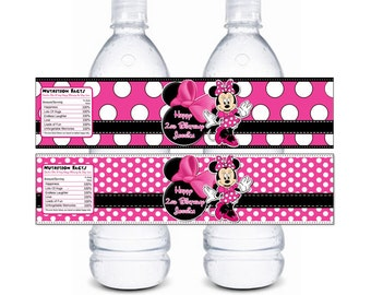 HUGE SELECTION Minnie Mouse Water Bottle Wrappers - Pink Black Zebra Minnie Mouse Water Bottle Label - Minnie Mouse Invitations