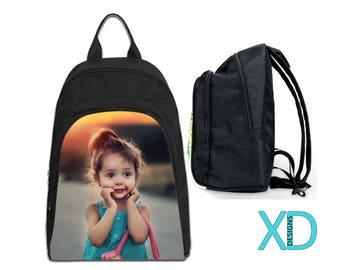 Custom Backpack, Photo Bookbag, Photo Backpack, Black Bookbag, Personalized Bag, Monogram Bookbag, Oxford Fabric, Kid's Backpack, School Bag