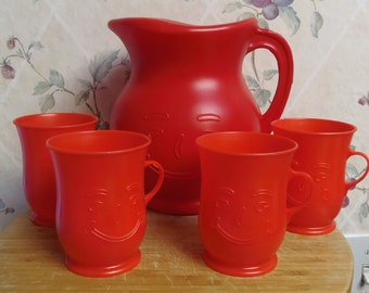 Sale-Vintage NEW Old Stock  1984 Red 2 Quart Plastic KOOL AID Pitcher with 4 Cups Original Box
