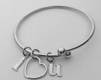 I Love You Bracelet - I  Heart U sterling silver bracelet - Message Bracelet - ready to ship with priority shipping