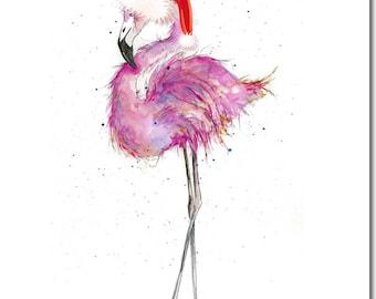 Flamingo Christmas Card - Pink Flamingo Card, Flamingo Holiday Card, for Flamingo lovers