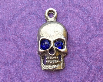 Handmade Skull Charm with Cobalt Crystal Eyes, Lead Free Pewter, about 17mm x 9mm