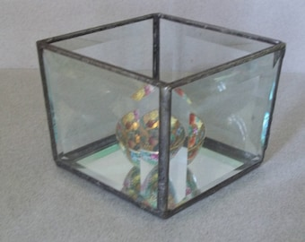 Vintage Beveled Glass Display Case - Leaded Glass Mirrored Display Box - Trapezoid Glass Display Box - Beveled Glass Display Box