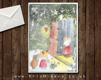Whimsical Carol Singing Animals Christmas Greetings Card - Little Voices