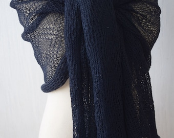 Navy Linen Shawl Knitted Summer Scarf Natural Wrap in Dark Blue Blue