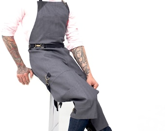 Full Split-Leg Chest-to-Shin Apron - No-Tie - Gray Denim - Black Leather
