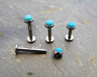 3mm Arizona Turquoise Labret Stud Surgical Steel 316L Internally Threaded 14G or 16G, 4 Different Lengths Tragus Helix Monroe