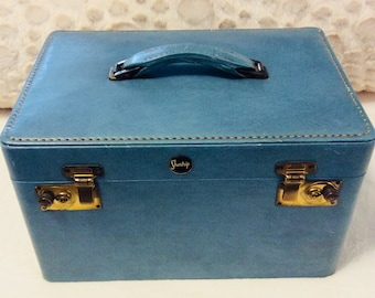 Vintage Shortrip TRAIN CASE Blue with Peach Lining 1950s Luggage Travel Makeup Cosmetic Suitcase Carry On Storage Case