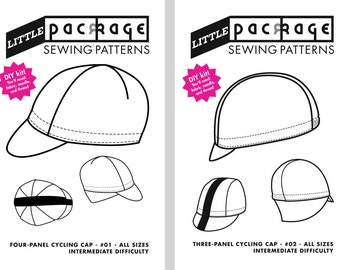 Both KIT Sewing Patterns: 3 and 4 Panel Cycling Cap