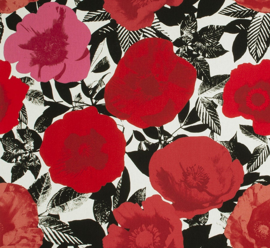 Red Grey Pink Upholstery Fabric Modern Black White Cotton