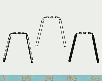 Nunchucks svg/Weapon/ninja/silhouette/cut file/digital download/silhouette cameo/cricut/vector/clipart/stencil/logo/doodle/sketch/hand drawn