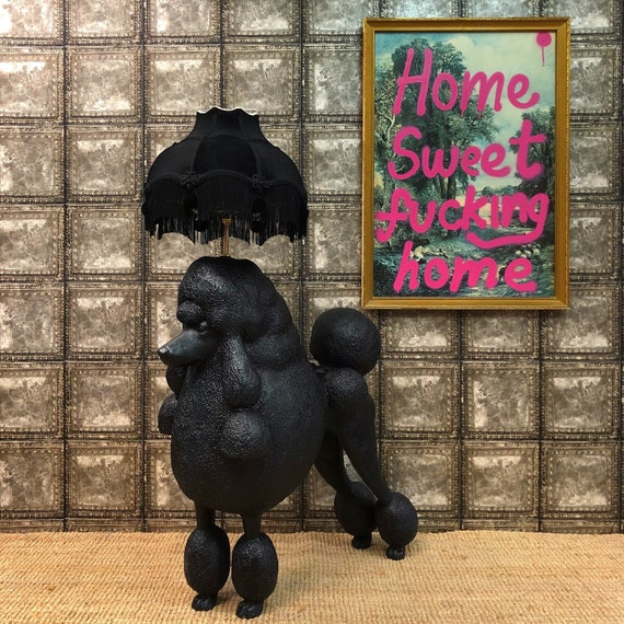 Black poodle floor lamp and velvet shade