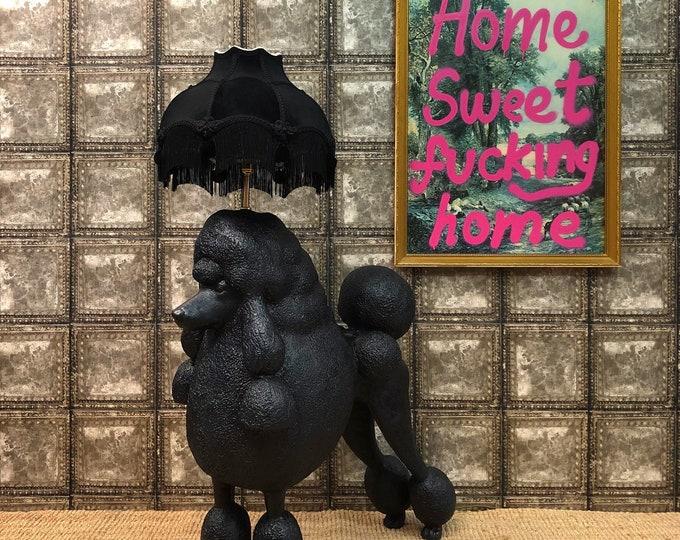 Black poodle floor lamp and velvet shade