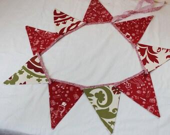 Fabric bunting banner, Christmas banner, flag banner, bunting banner.