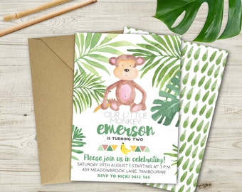Watercolour Jungle Birthday Invitation