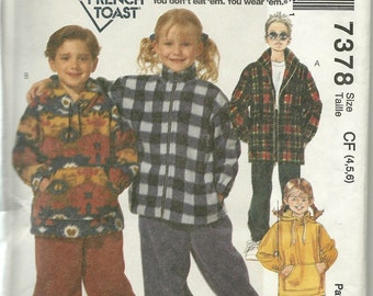 McCall's 7378  Childrens Boys' and Girls Jacket, Top and Pull-On-Pants   Size 4-5-6    by French Toast Uncut New
