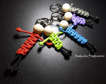 Keychain paracord buddy, Paracord keychain, Paracord people, Zipper pull, Paracord color keychain, Car accessories,  motorcycle key chain