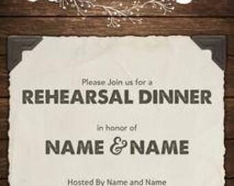 4x 9 Rehearsal Dinner Invitation