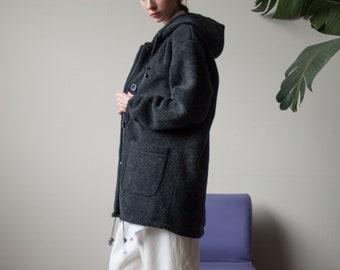 gray oversized fleece coat / reversible hooded coat / minimalist coat / s / 2403o / R5