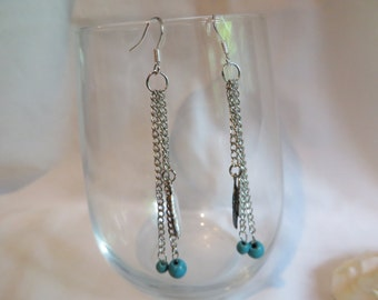 Turquoise and Feather Earrings on Silver Ear Wires, Earrings, Turquoise, Feather