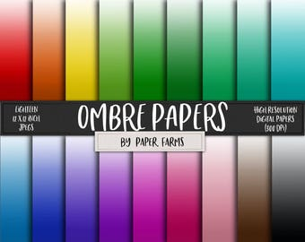 Ombre digital paper, ombre scrapbook paper, ombre backgrounds, printable ombre, rainbow ombre, gradient digital paper, digital scrapbooking