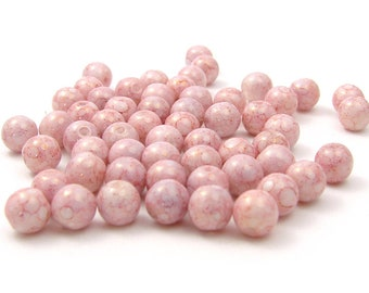 30 pcs - czech glass beads 6 mm pink picasso