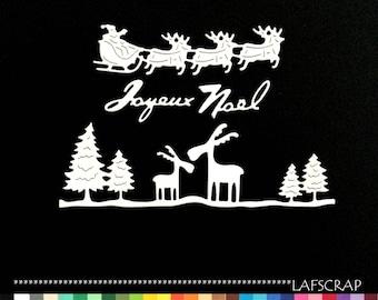 Santa Claus sleigh reindeer scrapbooking cuts animal Word Merry Christmas die cut scrap Scrapbook embellishment