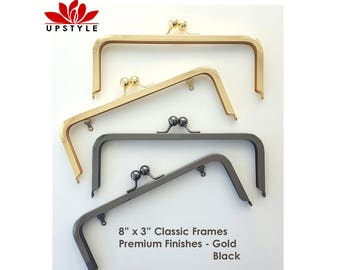 FREE Shipping - 8 x 3 Metal Purse Frames - Gold and Black Premium Finishes with or without chain loops - Set of 5