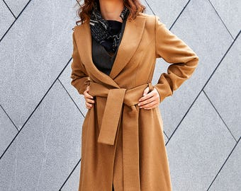 Trench Coat, Long Jacket, Beige Coat, Elegant Coat, Wool Coat, Blazer Coat, Winter Coat, Plus Size Coat, Minimalist Jacket, Fall Clothing