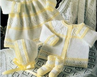 Baby Layette Knitting Pattern Heirloom, size 12 to 18 inch chest, Instant Download pdf, 4 ply yarn or wo