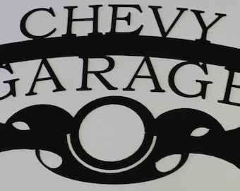 Chevy Garage Metal Wall Art Home Decor Flat Black