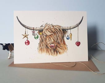 Highland Cow Christmas Card- Festive Cow Card - Holiday Card - Greetings Card