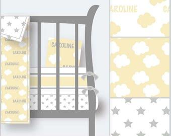 Personalized Nursery Bedding-Personalized Crib Bedding-Yellow Nursery-Neutral Nursery-Cloud Nursery-Star Bedding