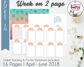 Week on 2 Page Apr - Jun '18 PRINTABLE Insert Pocket TN | Dated April May June 2018 | Digital Download | Travelers Notebook