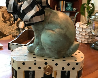 OOAK Hand Painted Black / White Check Large Box with Antique Teal BUNNY !!