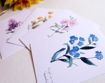Floral Cards. Wildflower Cards. Blank Cards. Notecard Set. Watercolor Cards. Set of 4 Cards. Lilac, Buttercup, Musk Mallow, Forget-me-not
