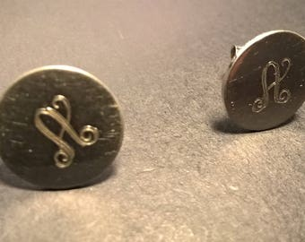 Sterling Silver Stud Earrings with the Letter A  / Vintage / 1960s / Estate Jewelry / Stamped