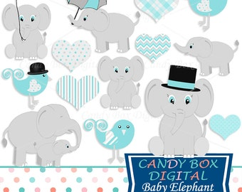 Blue Baby Boy Elephant Clipart, Aqua Baby Clip Art for Baby Showers - Commercial Use OK