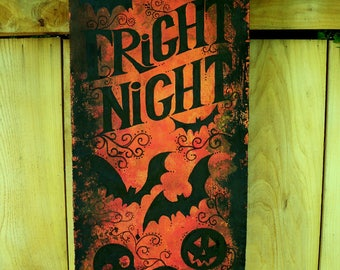 Painted Just for You-FRIGHT NIGHT....Skulls, bats, JOLs, spiders...vintage style painted banner for Halloween...bright and colorful