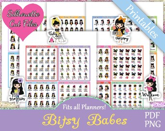 Printable Planner Stickers, Bitsy Babes, Functional, Cute Girls, Laundry, Cleaning, Shopping, Work, Pay Bills, Black Hair, Me Time, Sick Day