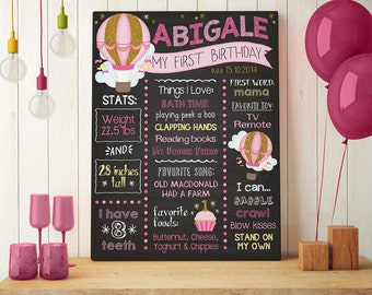Hot Air Balloon Chalkboard Poster   Milestone First Birthday Chalkboard   Gold and Pink   1st Birthday Stat Poster   Chalkboard Poster