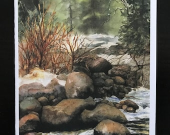 FREE SHIPPING, Water,Colorado, Blank Note-cards, Rocks, Woods, Woodlands, Forest, Snow, Spiritual, Watercolor Art Print by Janet Dosenberry