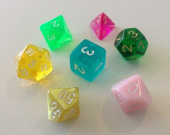 Polyhedral Dice Set - Springtime - DnD Tabletop RPG