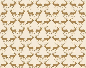 Metallic Gold Reindeer Fabric, Riley Blake Postcards For Santa, SC4753 Gold Deer Fabric, My Mind's Eye, Metallic Christmas Fabric, Cotton