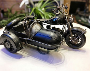 Vintage mini metal Motorcycle with sidecar decoration for home/office/garden/store/collection