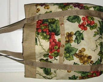 Foodie Tote Bag Tan with Green and Red Grapes